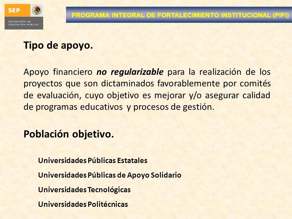 PROGRAMA INTEGRAL DE FORTALECIMIENTO INSTITUCIONAL (PIFI) Tipo de apoyo. Apoyo financiero no regularizable para la realización de los proyectos que so