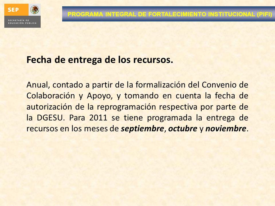 PROGRAMA INTEGRAL DE FORTALECIMIENTO INSTITUCIONAL (PIFI) Fecha de entrega de los recursos. Anual, contado a partir de la formalización del Convenio d