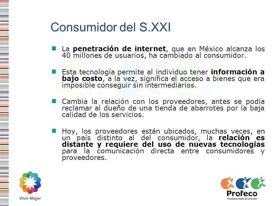 Consumidor del S.XXI La penetración de internet, que en México alcanza los 40 millones de usuarios, ha cambiado al consumidor. Esta tecnología permite