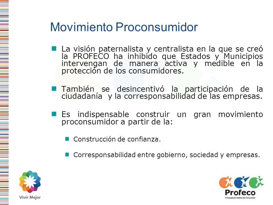 Movimiento Proconsumidor La visión paternalista y centralista en la que se creó la PROFECO ha inhibido que Estados y Municipios intervengan de manera