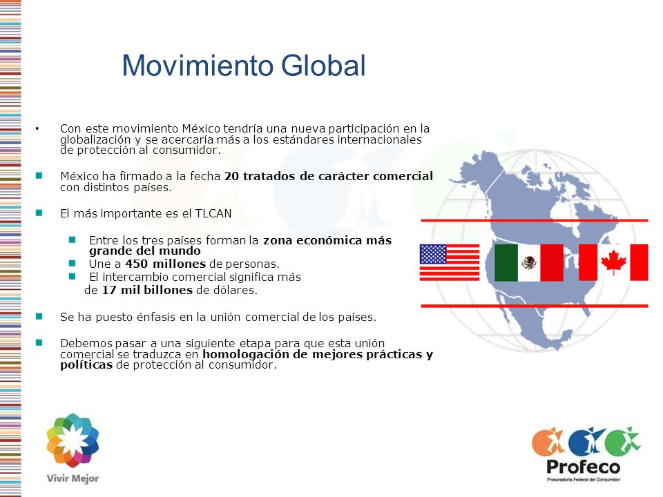 Movimiento Global Con este movimiento México tendría una nueva participación en la globalización y se acercaría más a los estándares internacionales d