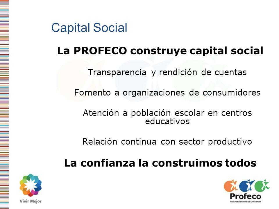Capital Social La PROFECO construye capital social Transparencia y rendición de cuentas Fomento a organizaciones de consumidores Atención a población
