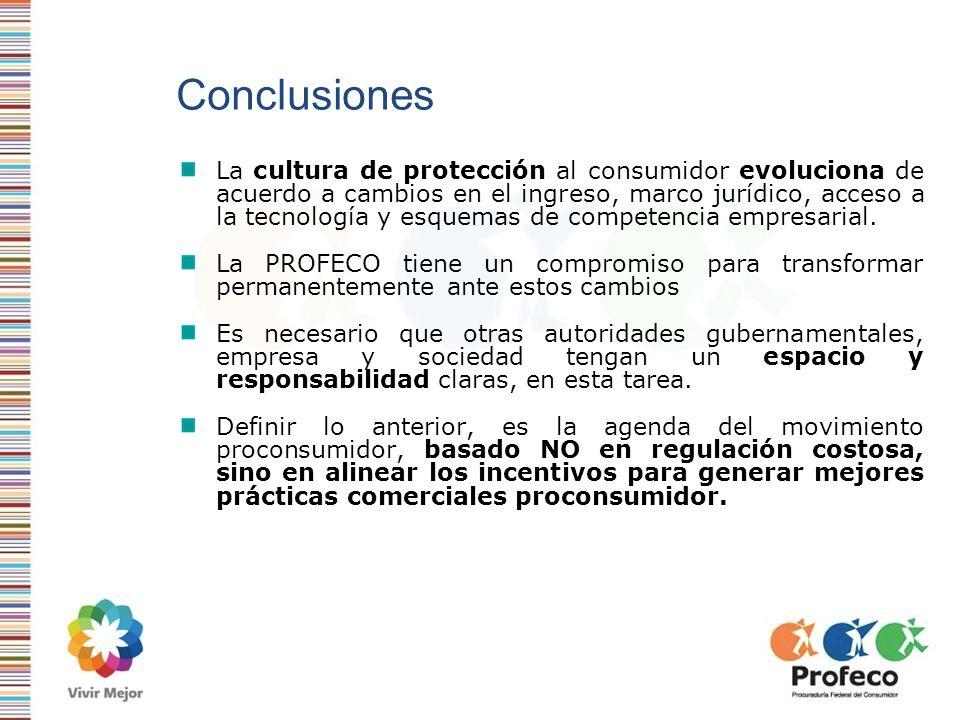 Conclusiones La cultura de protección al consumidor evoluciona de acuerdo a cambios en el ingreso, marco jurídico, acceso a la tecnología y esquemas d