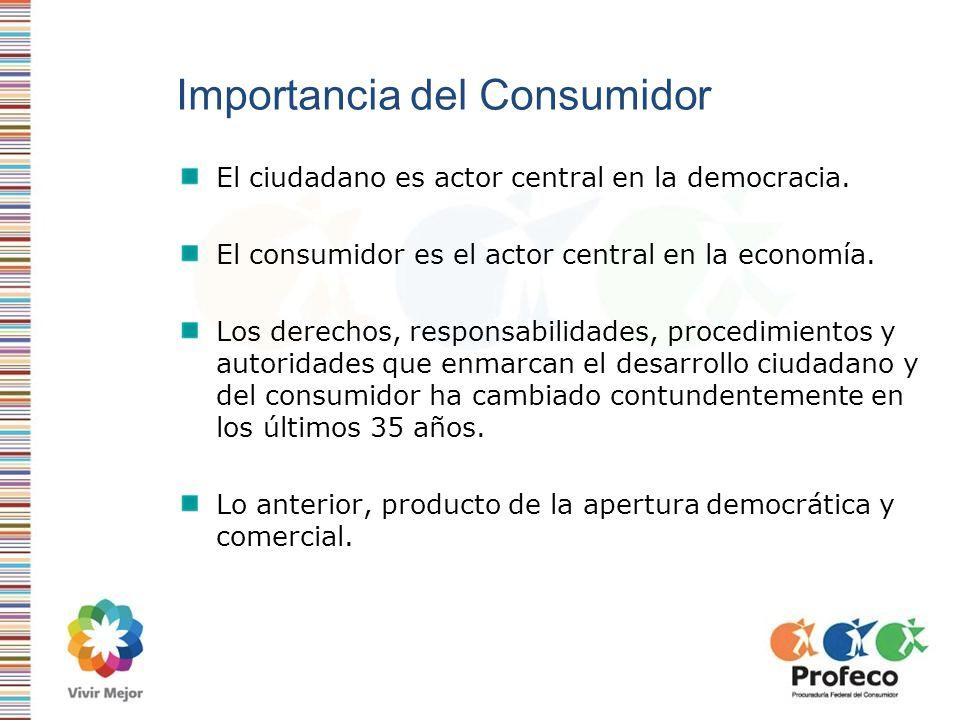 Importancia del Consumidor El ciudadano es actor central en la democracia. El consumidor es el actor central en la economía. Los derechos, responsabil