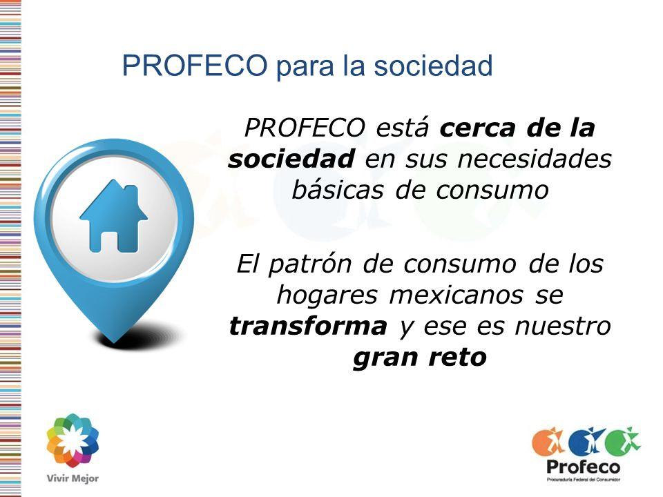 PROFECO para la sociedad PROFECO está cerca de la sociedad en sus necesidades básicas de consumo El patrón de consumo de los hogares mexicanos se tran