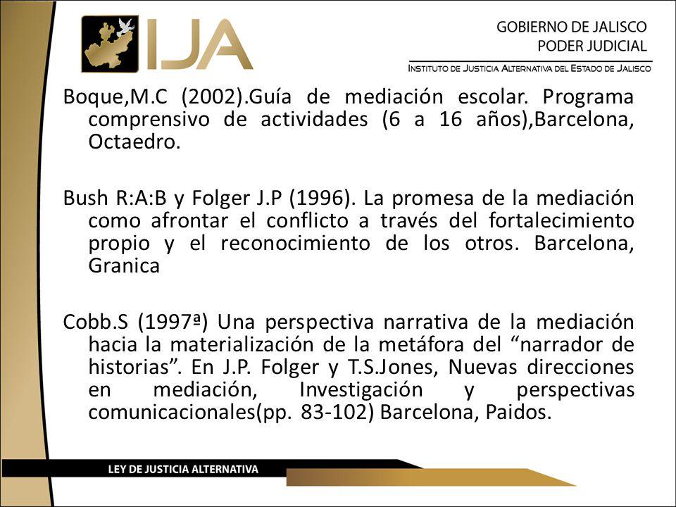 Boque,M.C (2002).Guía de mediación escolar. Programa comprensivo de actividades (6 a 16 años),Barcelona, Octaedro. Bush R:A:B y Folger J.P (1996). La