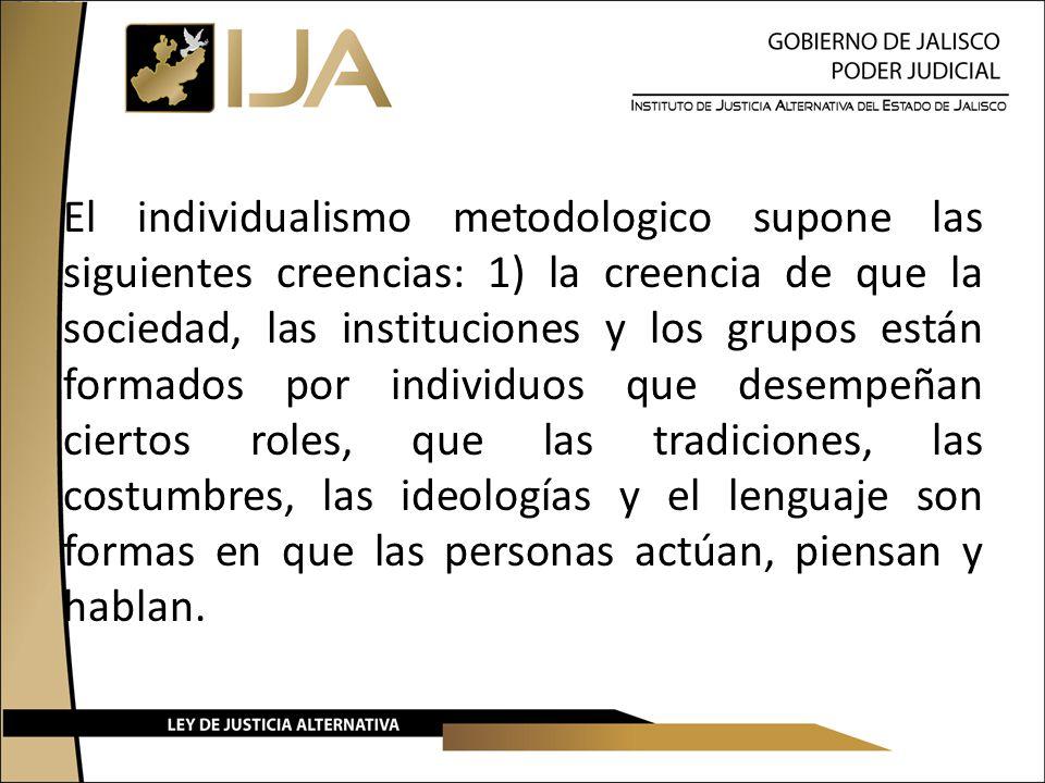 El individualismo metodologico supone las siguientes creencias: 1) la creencia de que la sociedad, las instituciones y los grupos están formados por i