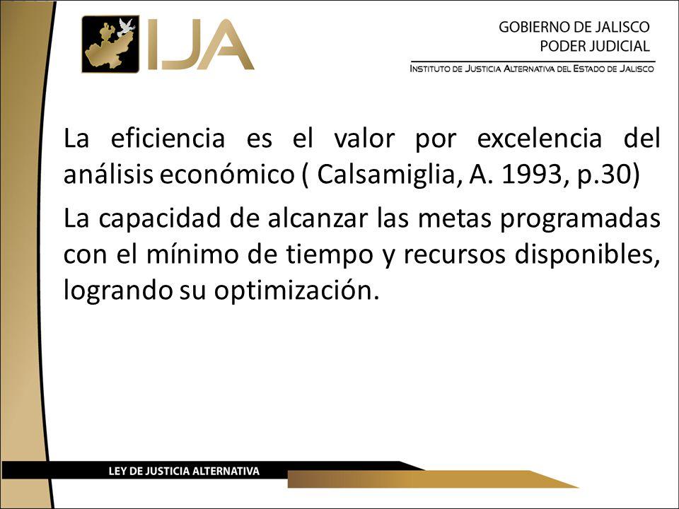 La eficiencia es el valor por excelencia del análisis económico ( Calsamiglia, A. 1993, p.30) La capacidad de alcanzar las metas programadas con el mí