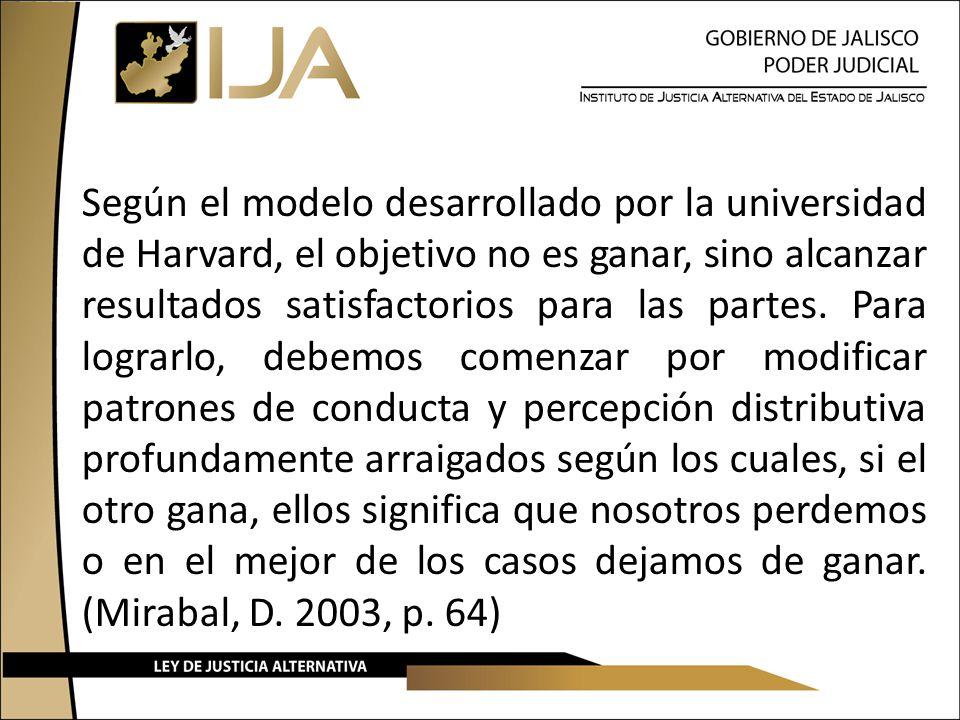 Según el modelo desarrollado por la universidad de Harvard, el objetivo no es ganar, sino alcanzar resultados satisfactorios para las partes. Para log