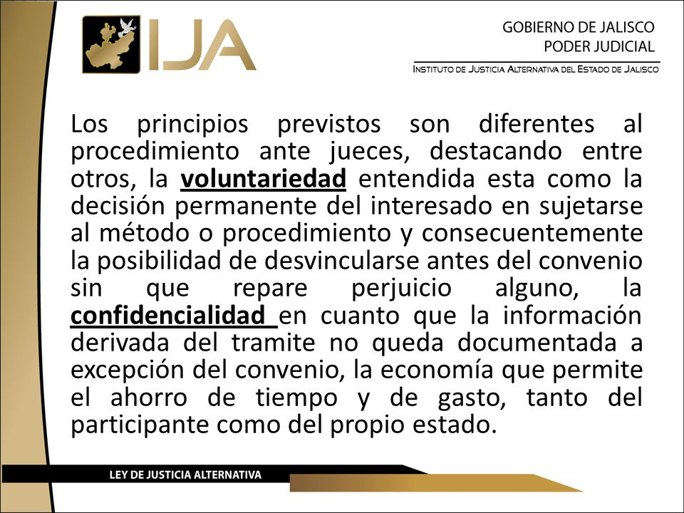 Los principios previstos son diferentes al procedimiento ante jueces, destacando entre otros, la voluntariedad entendida esta como la decisión permane
