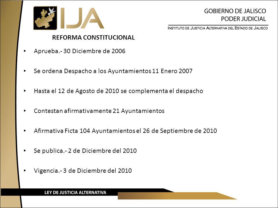REFORMA CONSTITUCIONAL Aprueba.- 30 Diciembre de 2006 Se ordena Despacho a los Ayuntamientos 11 Enero 2007 Hasta el 12 de Agosto de 2010 se complement