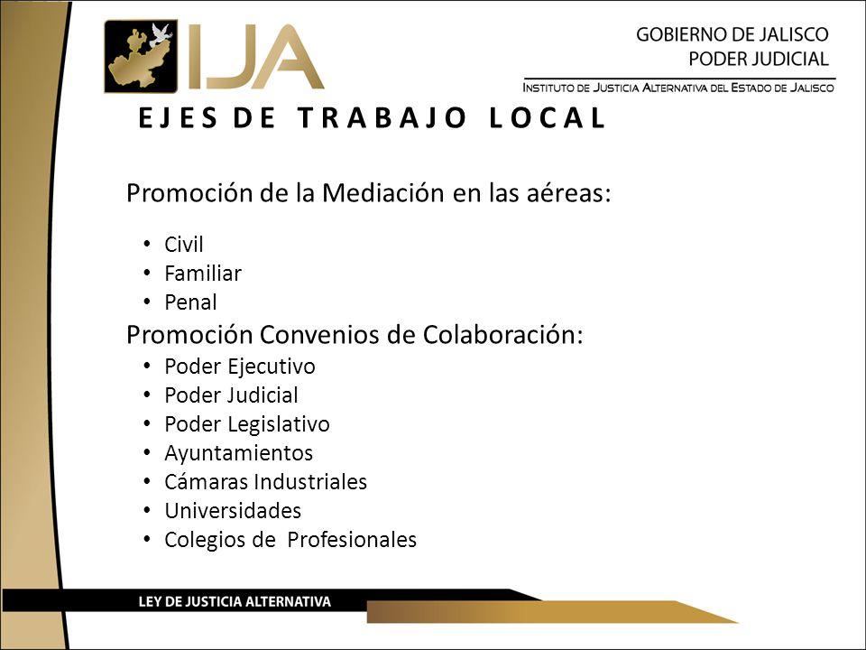 E J E S D E T R A B A J O L O C A L Promoción de la Mediación en las aéreas: Civil Familiar Penal Promoción Convenios de Colaboración: Poder Ejecutivo