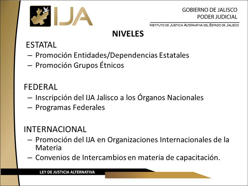 NIVELES ESTATAL – Promoción Entidades/Dependencias Estatales – Promoción Grupos Étnicos FEDERAL – Inscripción del IJA Jalisco a los Órganos Nacionales