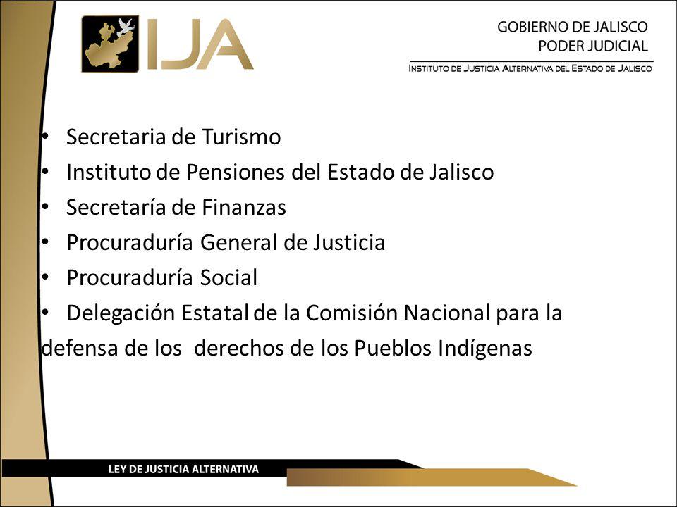 Secretaria de Turismo Instituto de Pensiones del Estado de Jalisco Secretaría de Finanzas Procuraduría General de Justicia Procuraduría Social Delegación Estatal de la Comisión Nacional para la defensa de los derechos de los Pueblos Indígenas