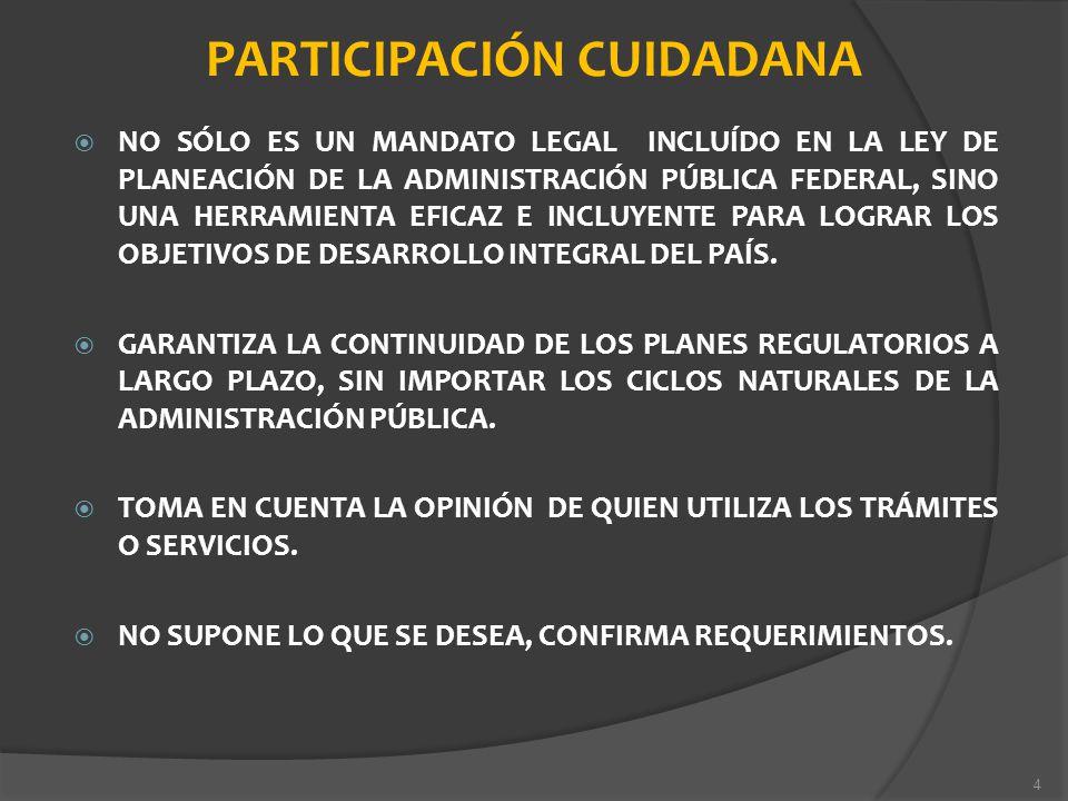 PARTICIPACIÓN CUIDADANA NO SÓLO ES UN MANDATO LEGAL INCLUÍDO EN LA LEY DE PLANEACIÓN DE LA ADMINISTRACIÓN PÚBLICA FEDERAL, SINO UNA HERRAMIENTA EFICAZ