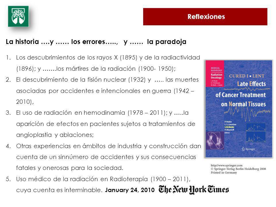 Reflexiones La historia ….y …… los errores….., y …… la paradoja 1.Los descubrimientos de los rayos X (1895) y de la radiactividad (1896); y …….los már