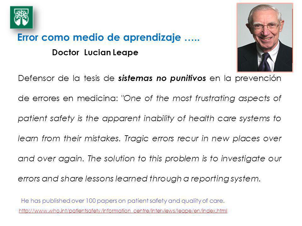Error como medio de aprendizaje ….. Defensor de la tesis de sistemas no punitivos en la prevención de errores en medicina: