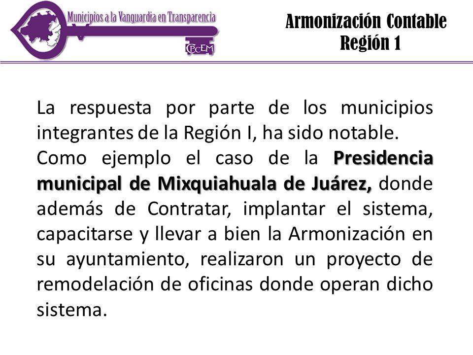 Armonización Contable Región 1 La respuesta por parte de los municipios integrantes de la Región I, ha sido notable. Presidencia municipal de Mixquiah