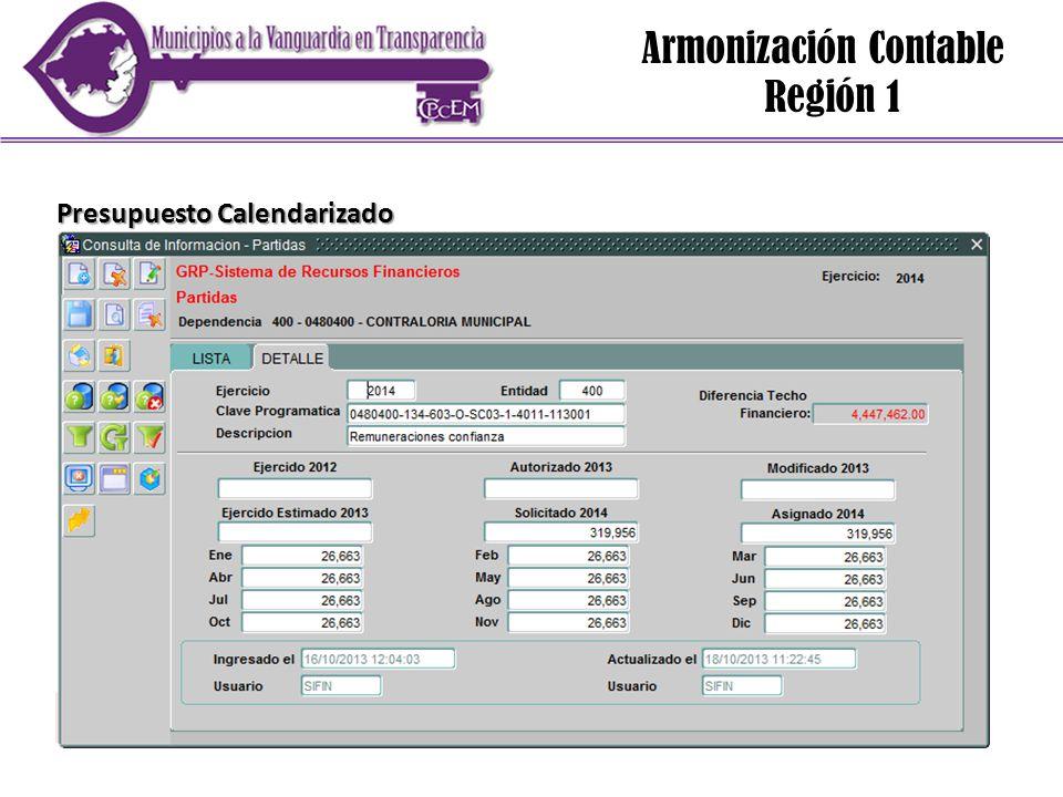 Armonización Contable Región 1 Presupuesto Calendarizado