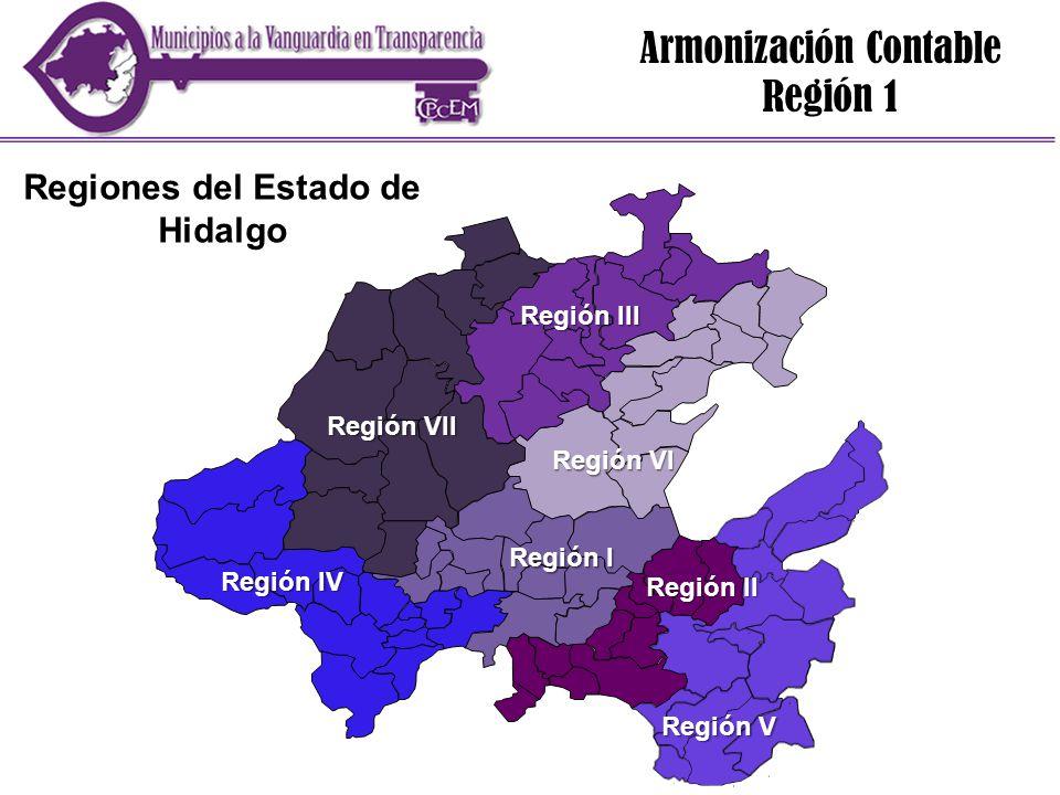 Región 1 Región II Región VI Región III Región VII Región IV Región V Regiones del Estado de Hidalgo Región I