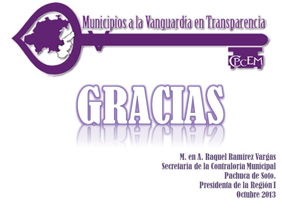 M. en A. Raquel Ramírez Vargas Secretaria de la Contraloría Municipal Pachuca de Soto. Presidenta de la Región I Octubre 2013