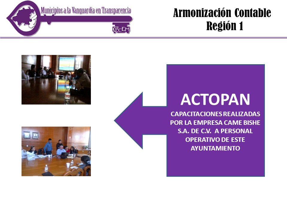 Armonización Contable Región 1 ACTOPAN CAPACITACIONES REALIZADAS POR LA EMPRESA CAME BISHE S.A. DE C.V. A PERSONAL OPERATIVO DE ESTE AYUNTAMIENTO