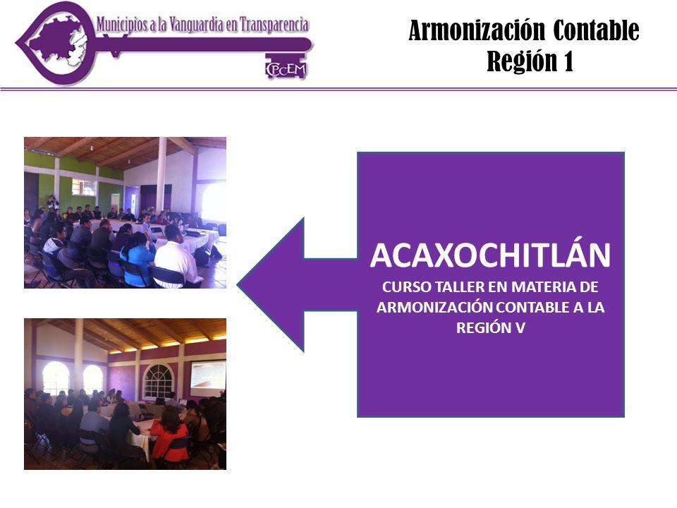 Armonización Contable Región 1 ACAXOCHITLÁN CURSO TALLER EN MATERIA DE ARMONIZACIÓN CONTABLE A LA REGIÓN V
