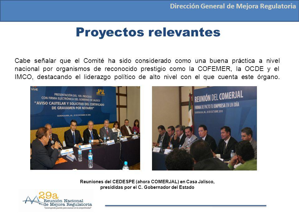 Proyectos relevantes Dirección General de Mejora Regulatoria Cabe señalar que el Comité ha sido considerado como una buena práctica a nivel nacional p