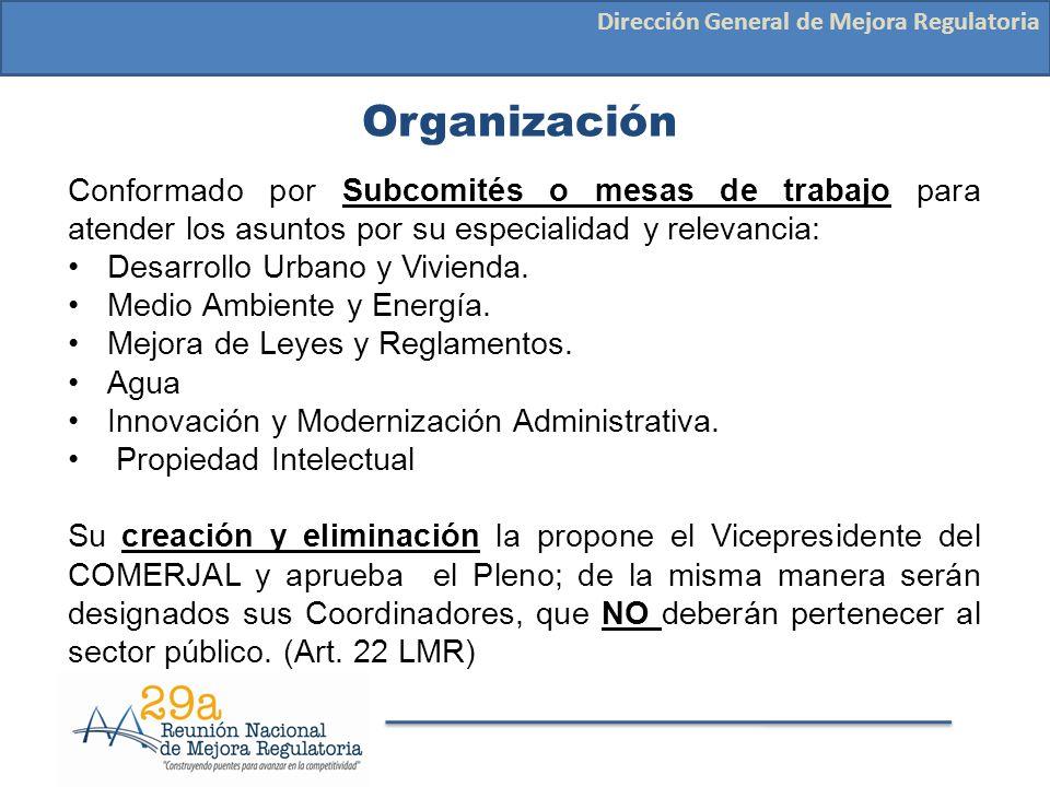 Organización Dirección General de Mejora Regulatoria Conformado por Subcomités o mesas de trabajo para atender los asuntos por su especialidad y relev