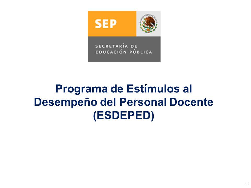35 Programa de Estímulos al Desempeño del Personal Docente (ESDEPED)