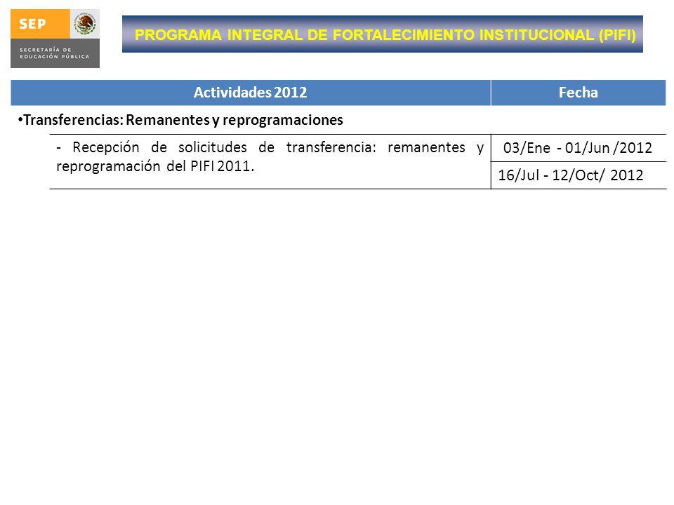 PROGRAMA INTEGRAL DE FORTALECIMIENTO INSTITUCIONAL (PIFI) Actividades 2012Fecha Transferencias: Remanentes y reprogramaciones - Recepción de solicitud