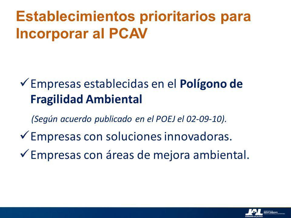 Establecimientos prioritarios para Incorporar al PCAV Empresas establecidas en el Polígono de Fragilidad Ambiental (Según acuerdo publicado en el POEJ