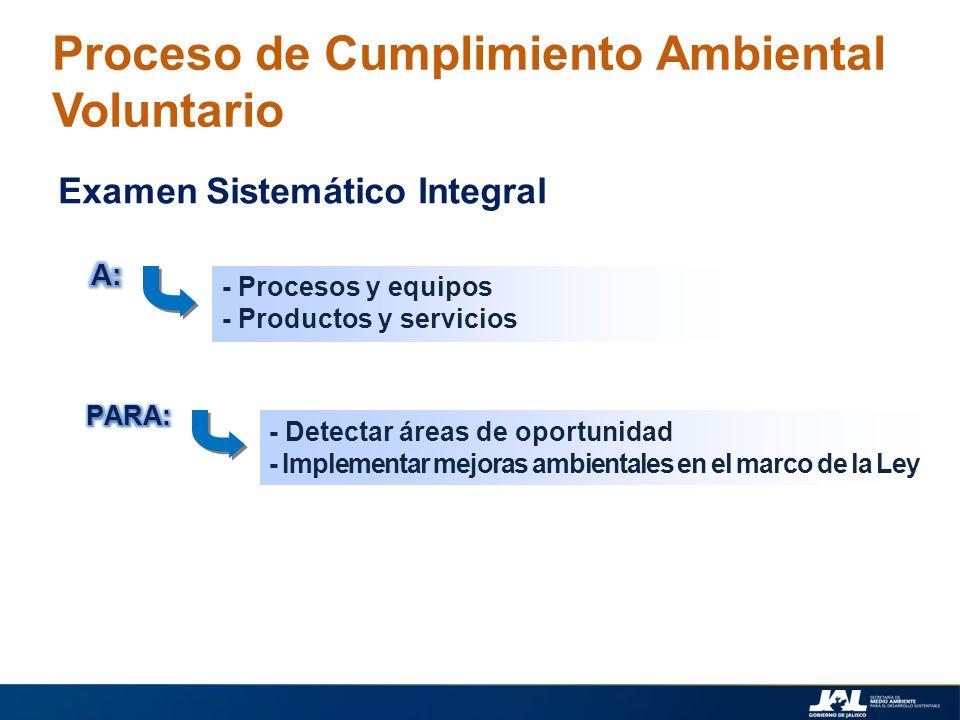 - Procesos y equipos - Productos y servicios Proceso de Cumplimiento Ambiental Voluntario Examen Sistemático Integral - Detectar áreas de oportunidad