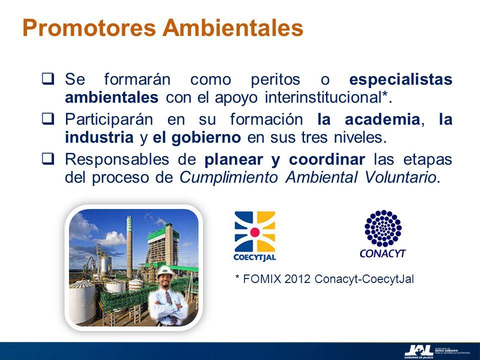 Promotores Ambientales Se formarán como peritos o especialistas ambientales con el apoyo interinstitucional*. Participarán en su formación la academia