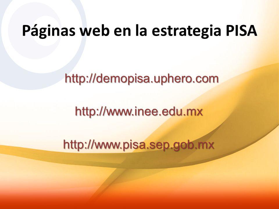 Páginas web en la estrategia PISA http://demopisa.uphero.com http://www.inee.edu.mx http://www.pisa.sep.gob.mx