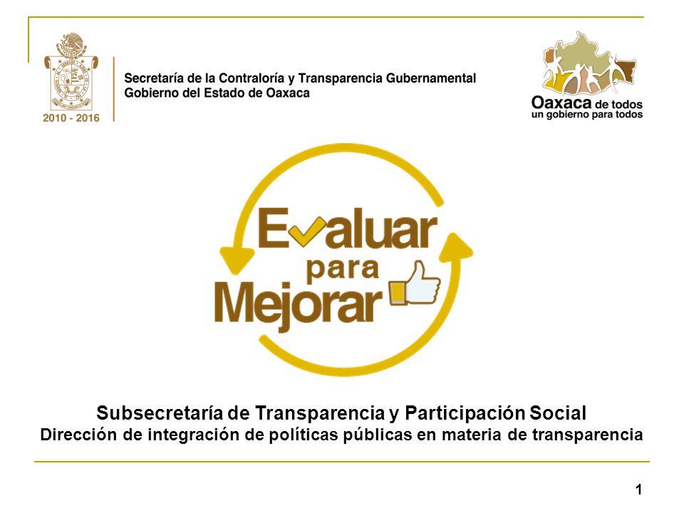 Subsecretaría de Transparencia y Participación Social Dirección de integración de políticas públicas en materia de transparencia 1
