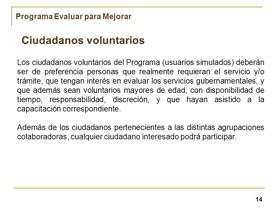 Los ciudadanos voluntarios del Programa (usuarios simulados) deberán ser de preferencia personas que realmente requieran el servicio y/o trámite, que