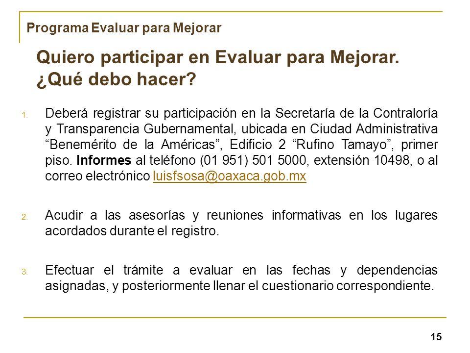 Quiero participar en Evaluar para Mejorar. ¿Qué debo hacer? 1. Deberá registrar su participación en la Secretaría de la Contraloría y Transparencia Gu