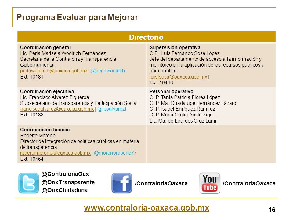 www.contraloria-oaxaca.gob.mx Directorio Coordinación general Lic. Perla Marisela Woolrich Fernández Secretaria de la Contraloría y Transparencia Gube