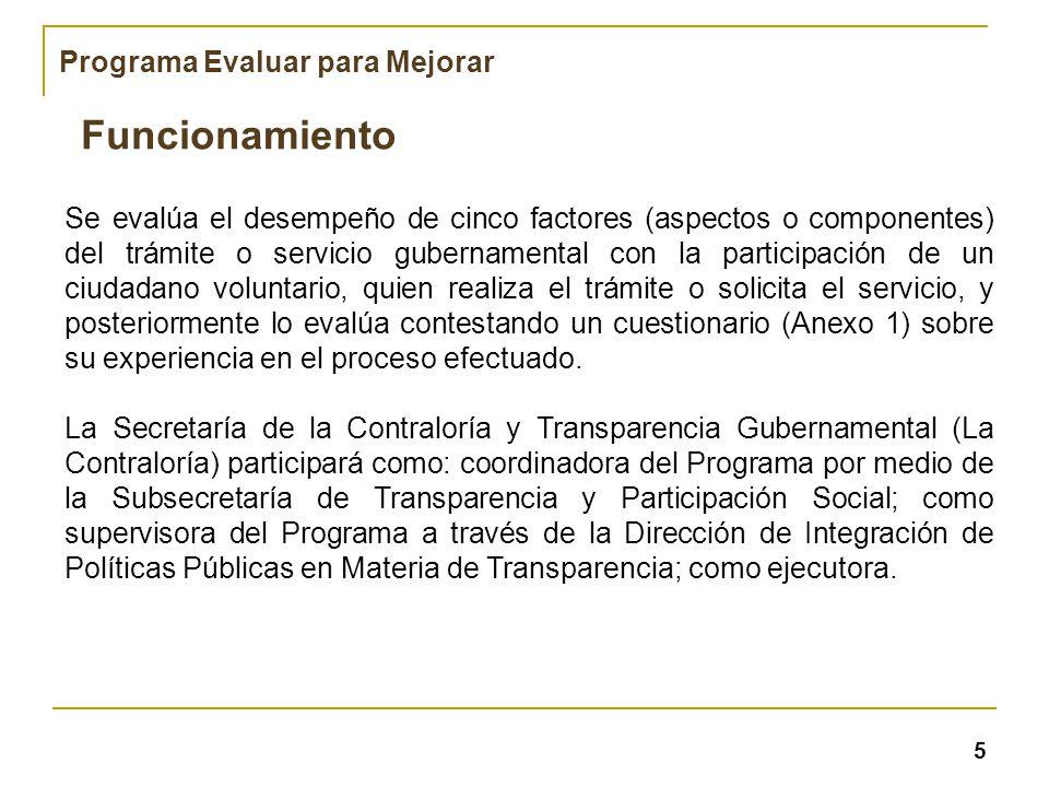 Se evalúa el desempeño de cinco factores (aspectos o componentes) del trámite o servicio gubernamental con la participación de un ciudadano voluntario