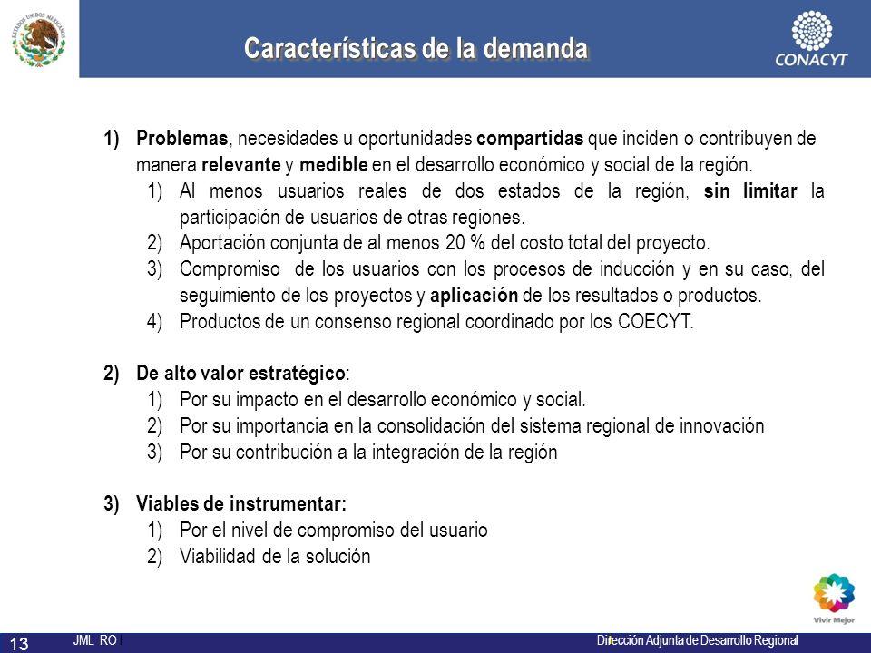 l JML RO l Dirección Adjunta de Desarrollo Regional 13 Características de la demanda Características de la demanda 1) Problemas, necesidades u oportun
