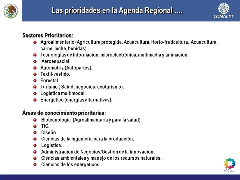 17 Las prioridades en la Agenda Regional …. Sectores Prioritarios: Agroalimentario (Agricultura protegida, Acuacultura, Horto-fruticultura, Acuacultur