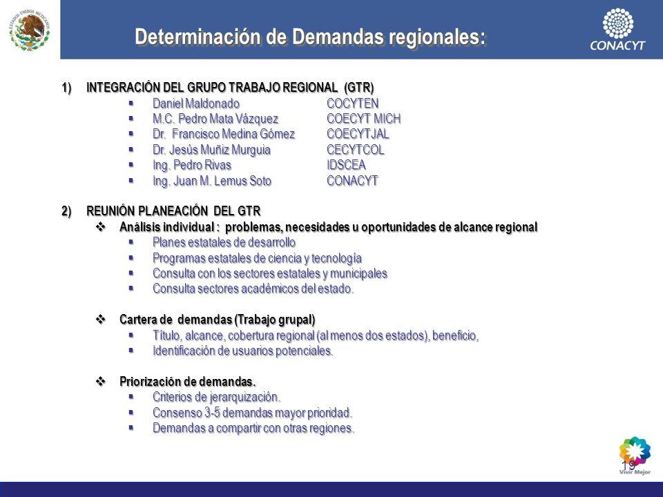 19 Determinación de Demandas regionales: 1)INTEGRACIÓN DEL GRUPO TRABAJO REGIONAL (GTR) Daniel MaldonadoCOCYTEN Daniel MaldonadoCOCYTEN M.C. Pedro Mat