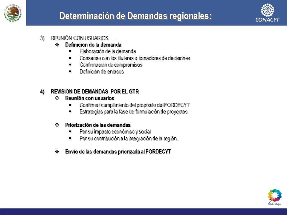 21 Determinación de Demandas regionales: Determinación de Demandas regionales: 3)REUNIÓN CON USUARIOS….. Definición de la demanda Definición de la dem
