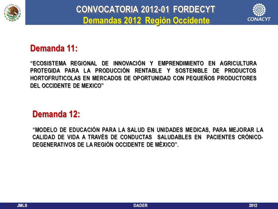 JMLS DADER 2012 CONVOCATORIA 2012-01 FORDECYT Demandas 2012 Región Occidente Demandas 2012 Región Occidente CONVOCATORIA 2012-01 FORDECYT Demandas 201