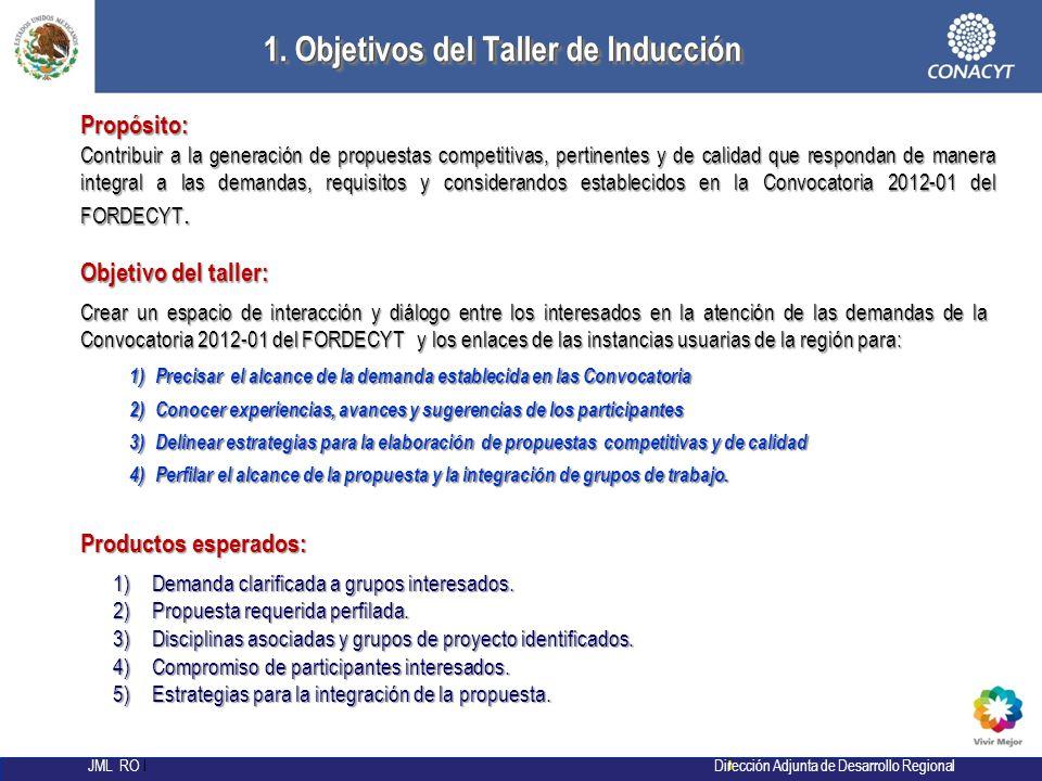l JML RO l Dirección Adjunta de Desarrollo Regional 29 1. Objetivos del Taller de Inducción 1. Objetivos del Taller de Inducción 1) Precisar el alcanc