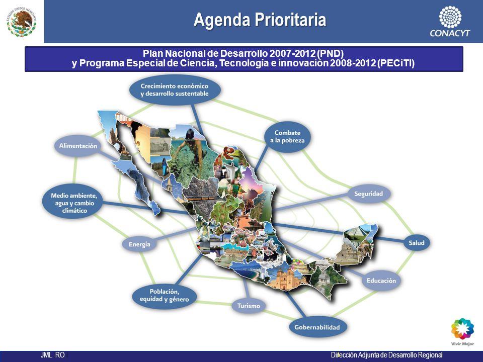 l JML RO l Dirección Adjunta de Desarrollo Regional Plan Nacional de Desarrollo 2007-2012 (PND) y Programa Especial de Ciencia, Tecnología e innovación 2008-2012 (PECiTI) Agenda Prioritaria