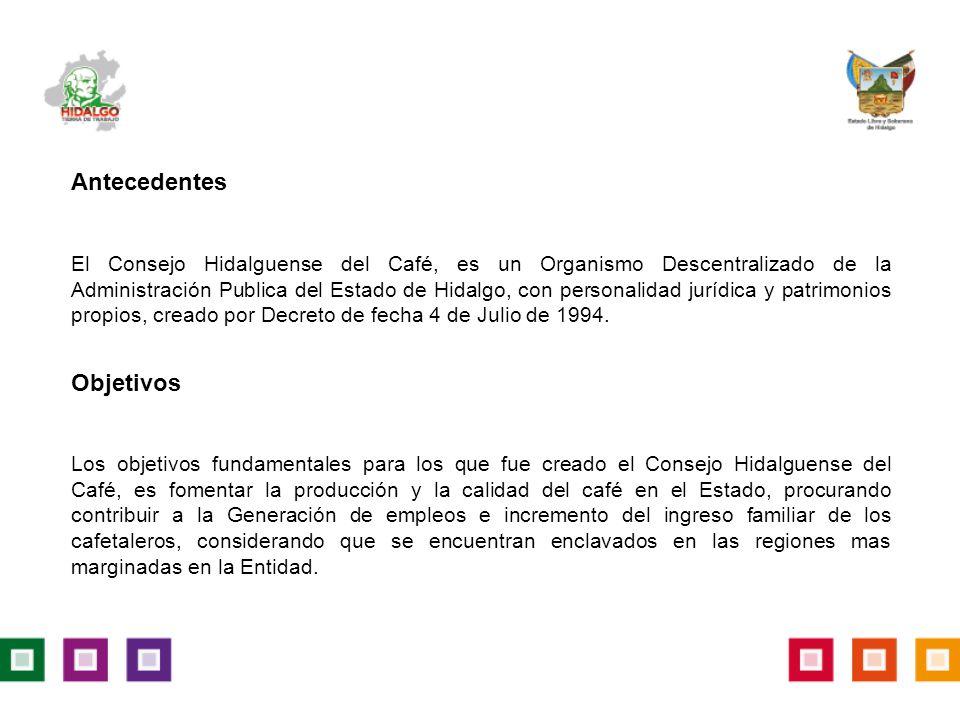 Antecedentes El Consejo Hidalguense del Café, es un Organismo Descentralizado de la Administración Publica del Estado de Hidalgo, con personalidad jurídica y patrimonios propios, creado por Decreto de fecha 4 de Julio de 1994.