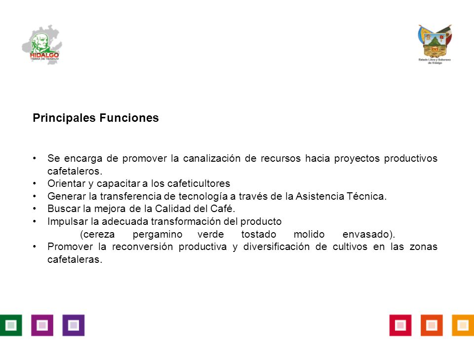 Principales Funciones Se encarga de promover la canalización de recursos hacia proyectos productivos cafetaleros.