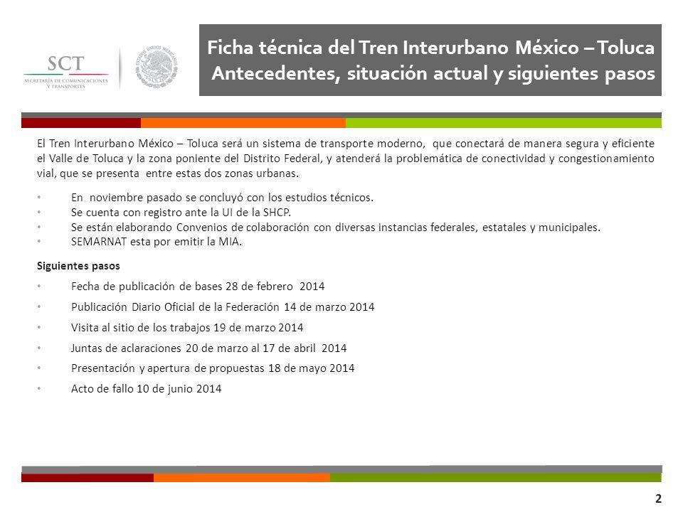 Ficha técnica del Tren Interurbano México – Toluca Antecedentes, situación actual y siguientes pasos Dirección General de Transporte Ferroviario y Mul